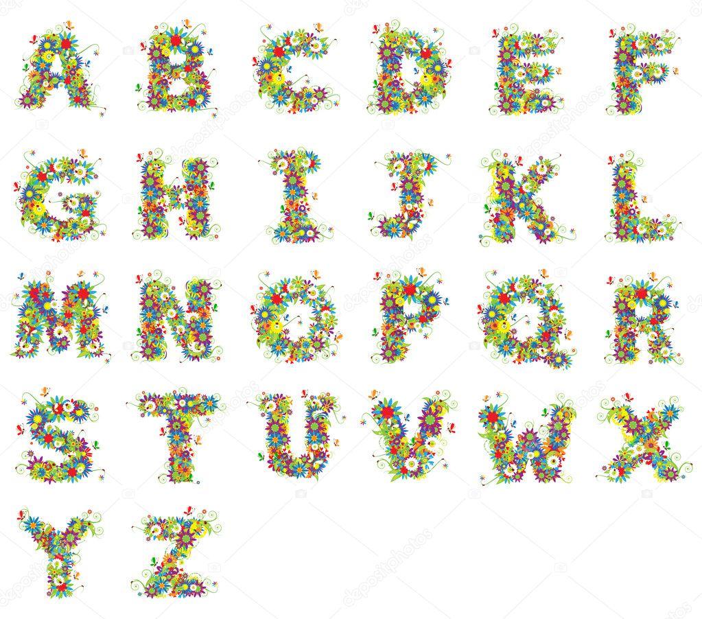 Alfabet, floral design.
