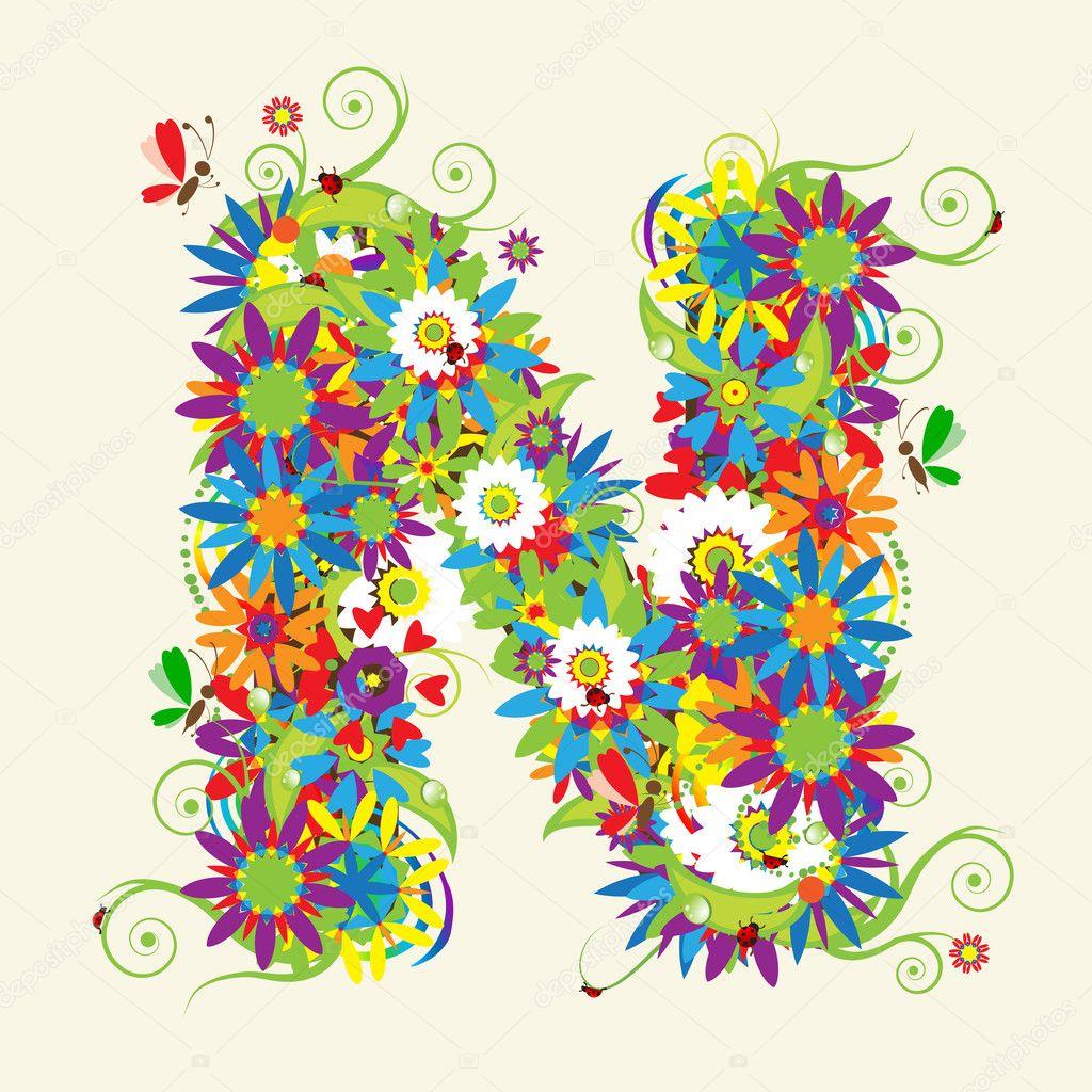 Letter N, floral design.