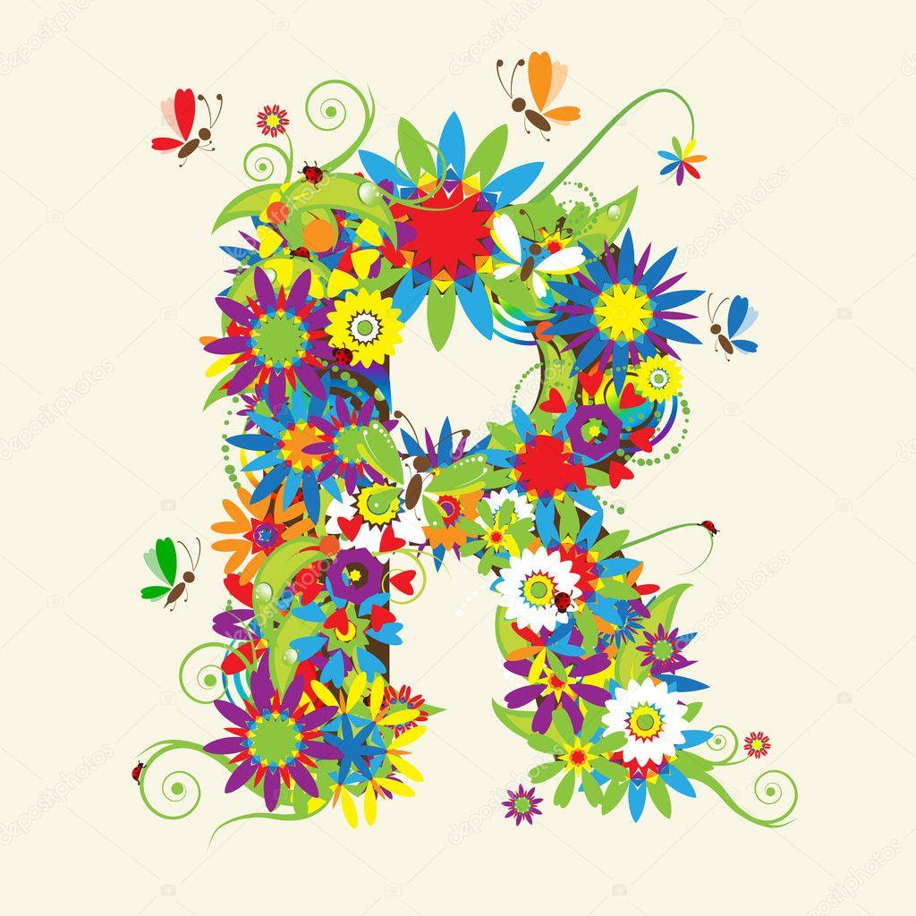 Letter R, floral design.