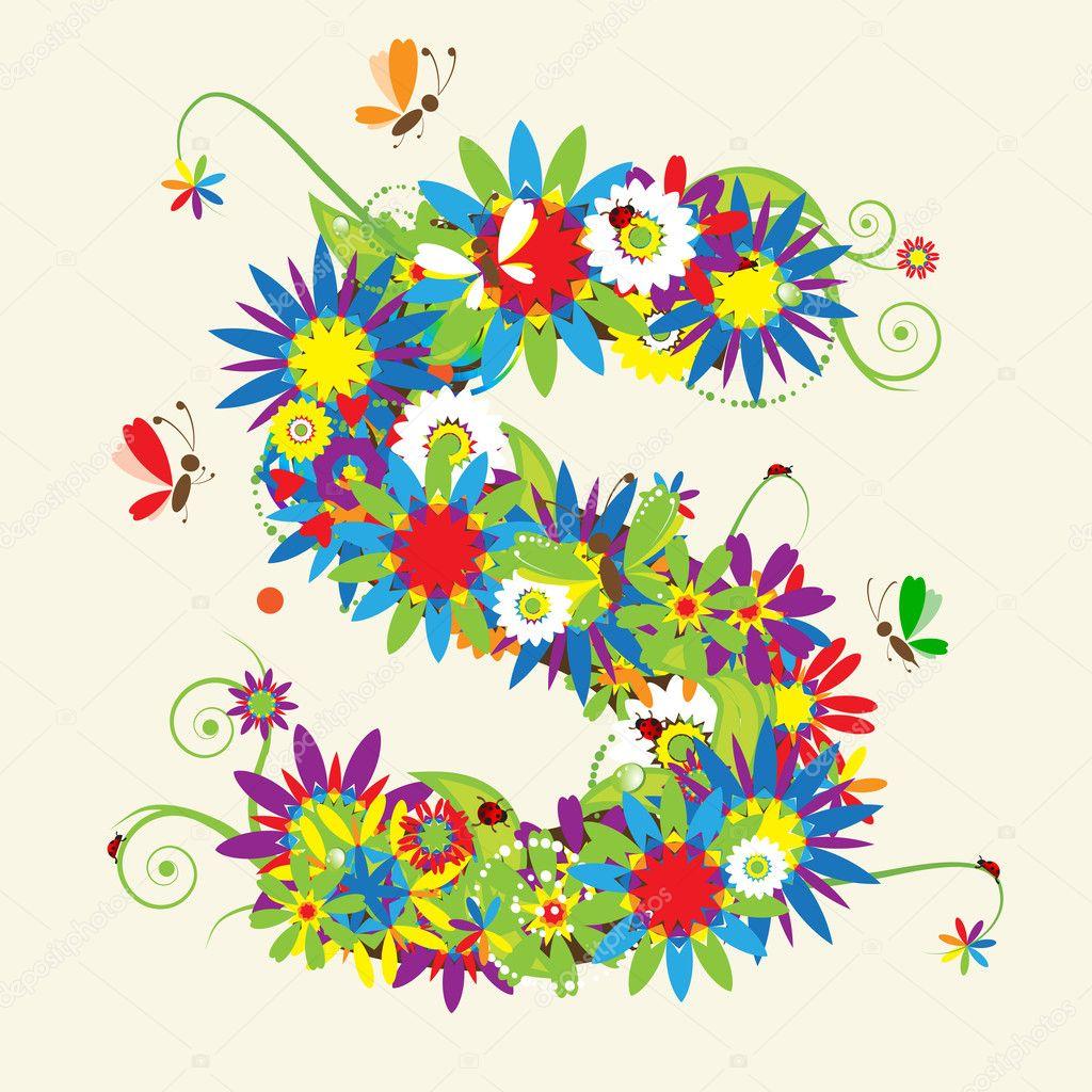 Letter S, floral design.