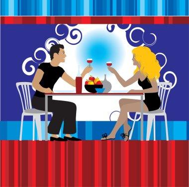Couple drink wine at restaurant clip art vector