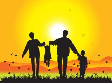 Happy family walks on nature, sunset