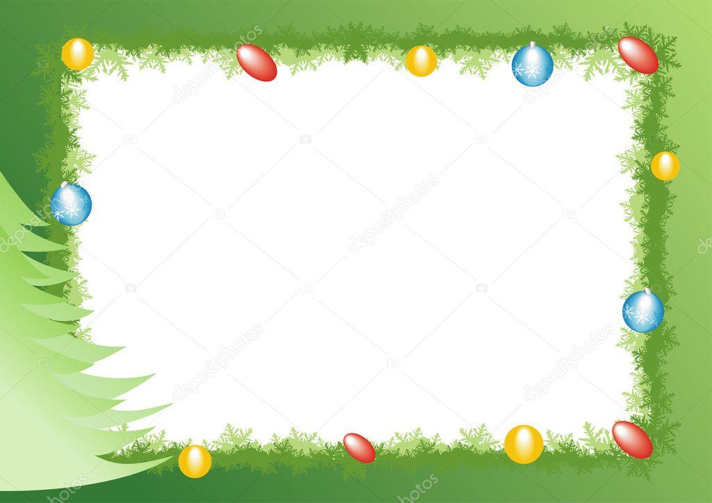 Marco celebración decorada con esferas de vidrio de año nuevo ...
