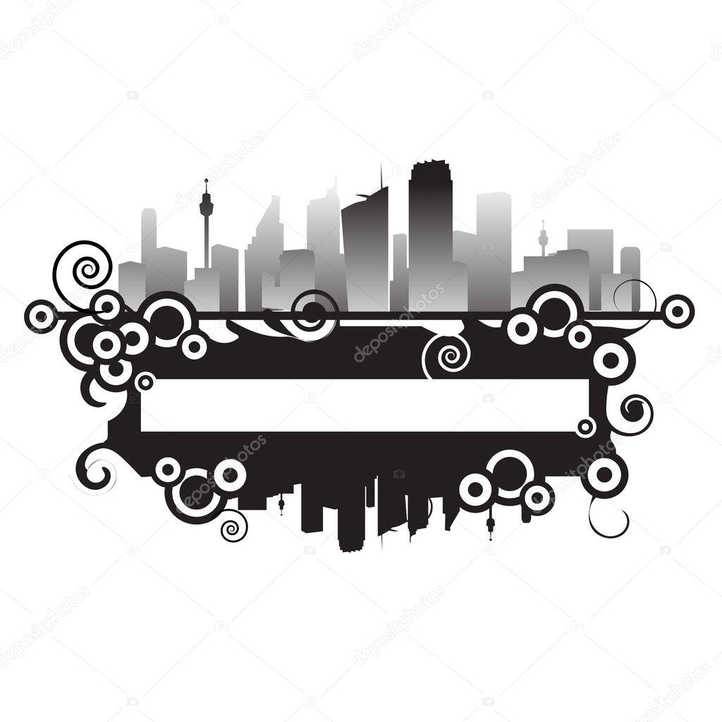 paisaje urbano, marco abstracto, con lugar para el texto — Vector de ...