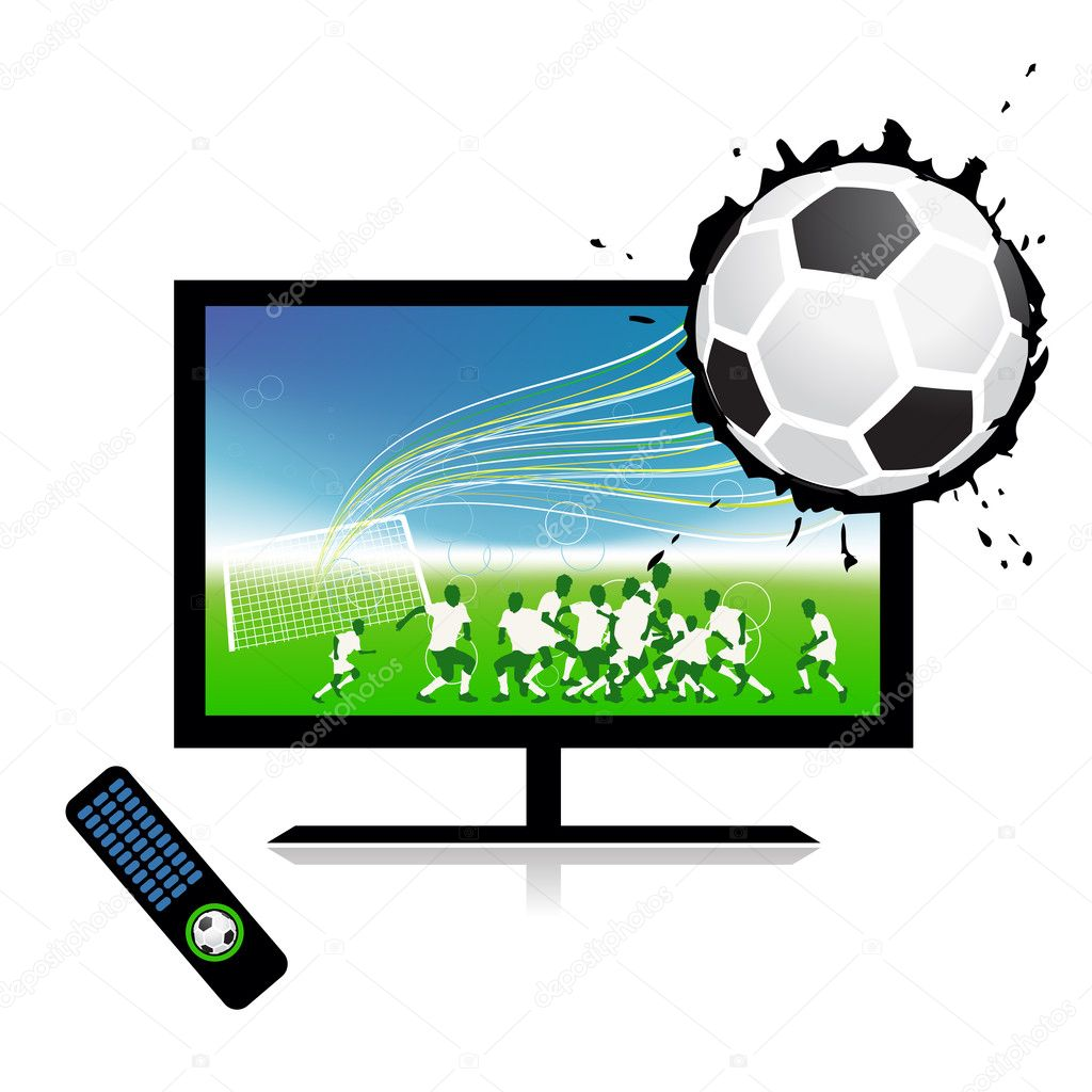 Football match on tv sports channel