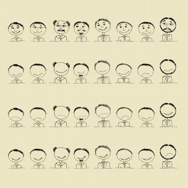 Collection of smile icons, faces of men