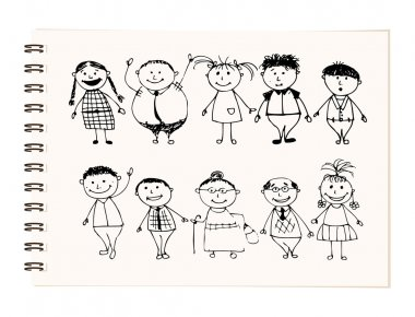Happy big family smiling together, drawing sketch