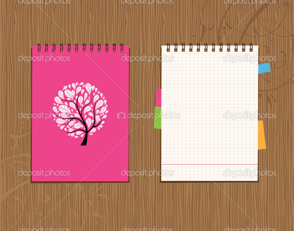 notebook cover and page design on wooden background stock vector