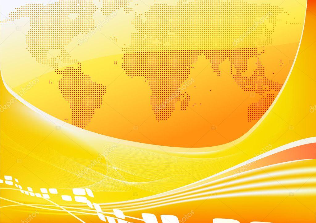 Orange world map background