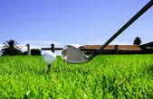 Míč a golfové kluby