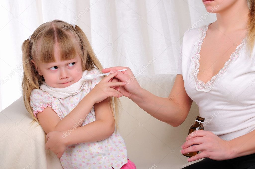Little girl drinking cough syrup — Stock Photo ...