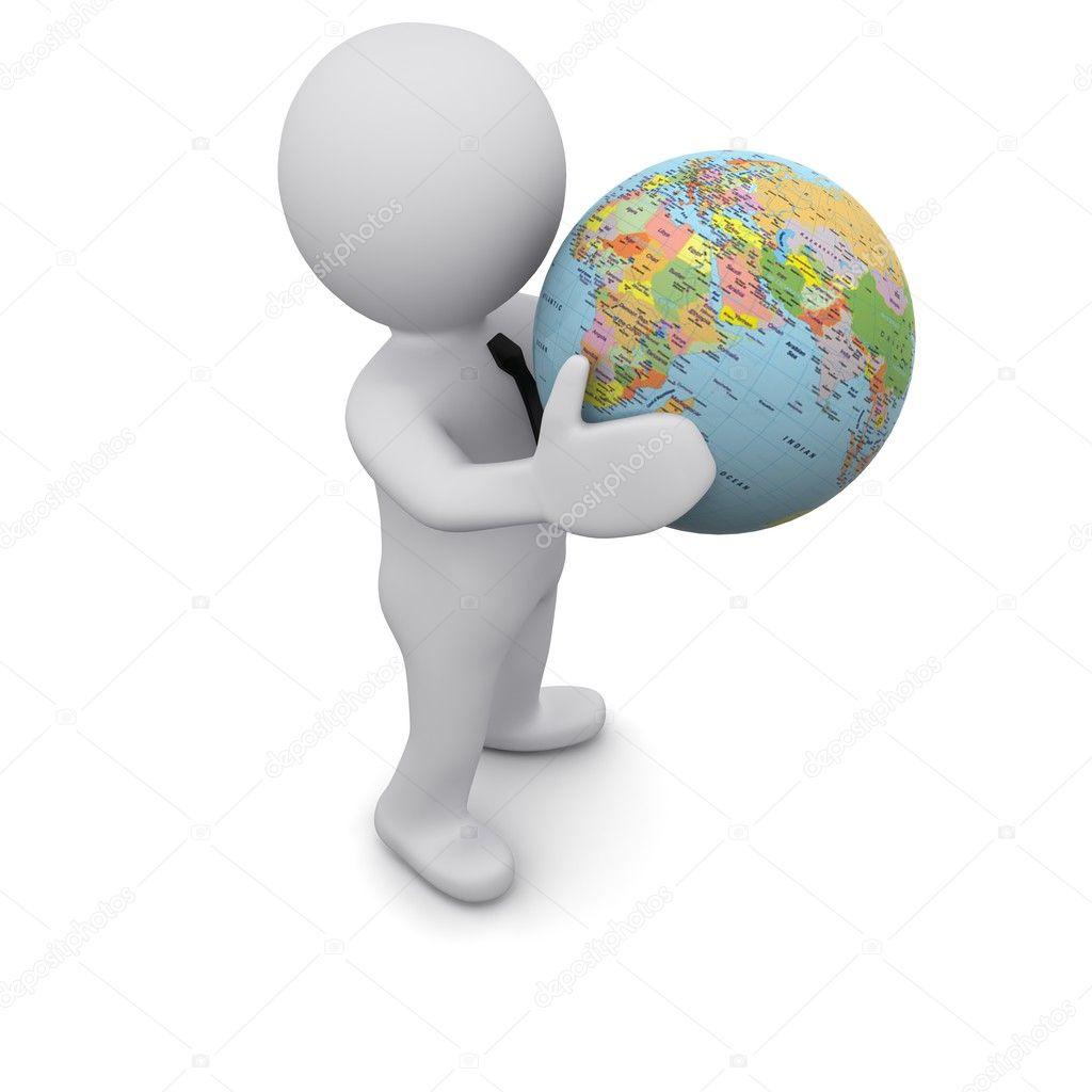 Человечек с глобусом картинки