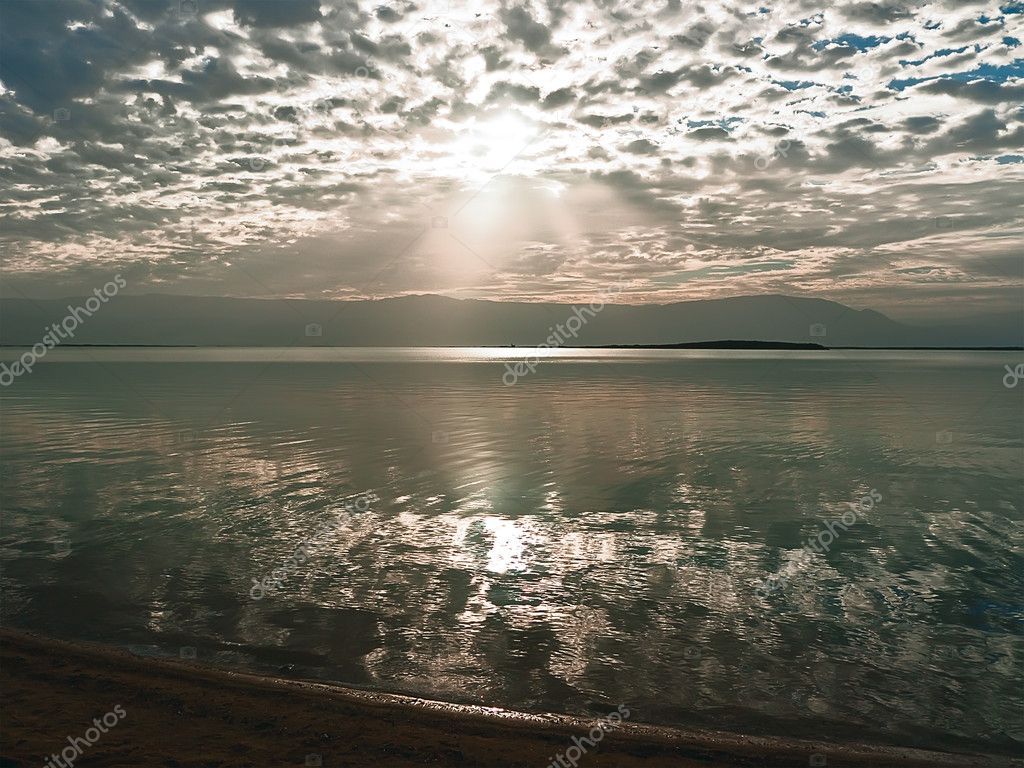 Sunrise over the Dead Sea in Israel.