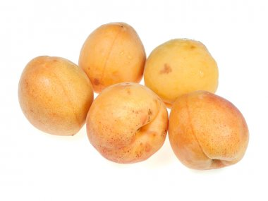 Five of apricots on a white background