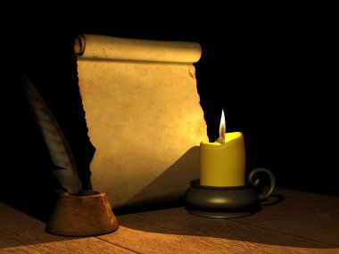 Candle and the ancient manuscript