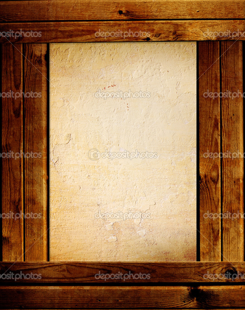 Grunge background with wooden boards and stucco texture