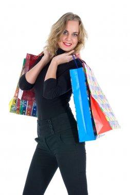 Expressive woman shopping