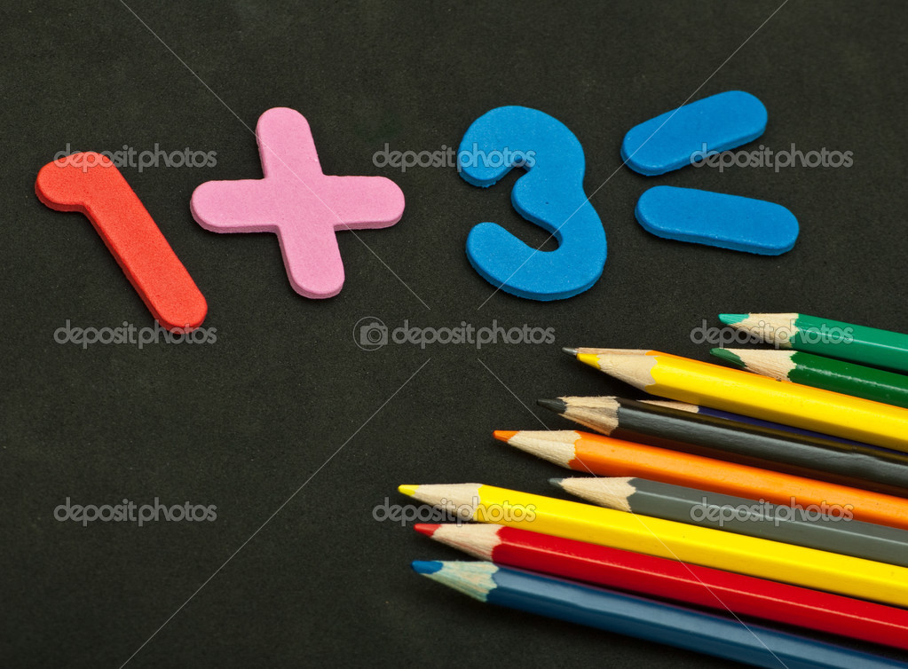 Colour Pencils Numbers And Back To School Stock Photo C Djemphoto