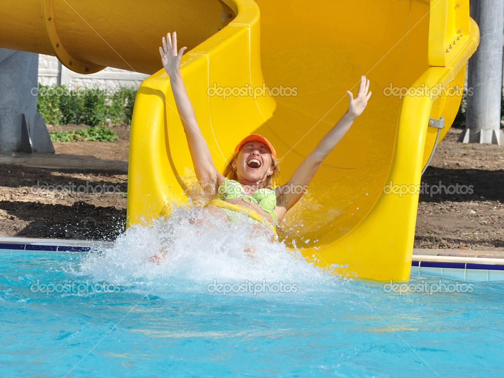 The girl on a waterslide