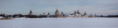 Winter panorama of orthodox monastery