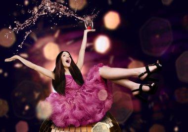 Beauty woman on a disco