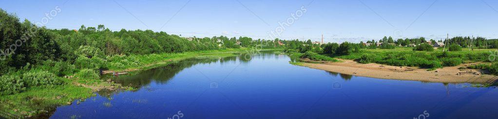 Panoramic view with river Kubena