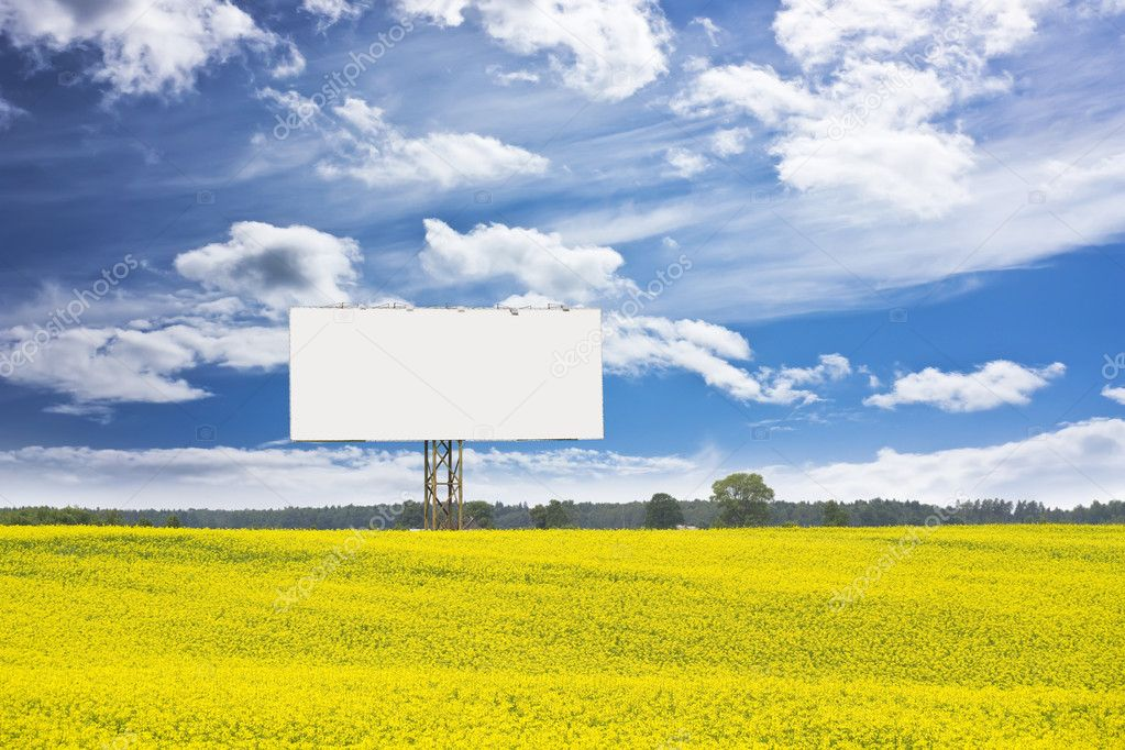 Billboard in rapeseed field