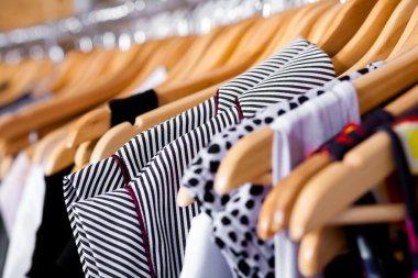 Multi-coloured wardrobe showcase, for sale, closeup view stock vector