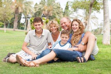 Family posing for camera