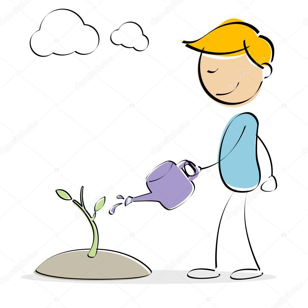 Kid watering plant
