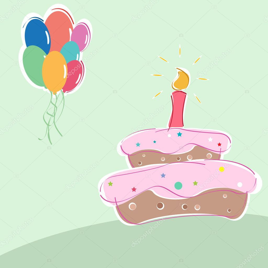 Illustration Of Birthday With Cakes Candles And Balloons Photo By Get4net