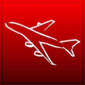 Flugzeug auf rotem Hintergrund
