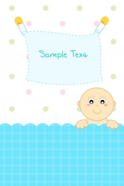 Illustration of baby arrival announcement card with baby peeping stock vector