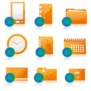 Illustration of set of different office icon stock vector