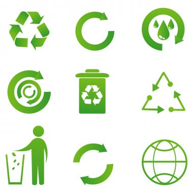 Illustration of set of recycle icons on isolated background stock vector