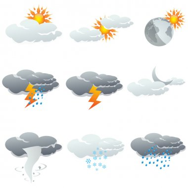 Illustration of set of clouds showing different weather stock vector