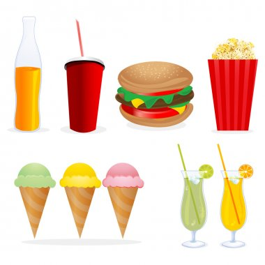 Illustration of junk foods on isolated background stock vector