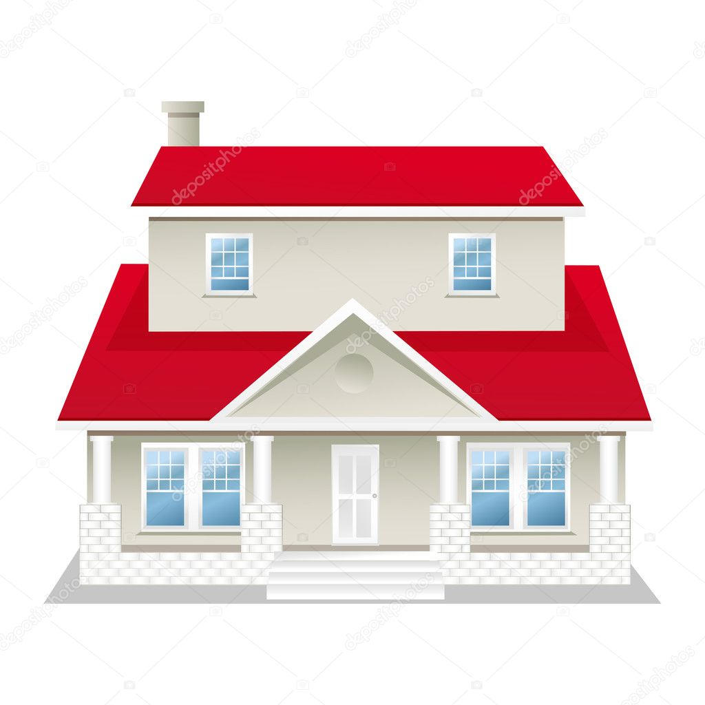 Illustration of house on white stock photo get4net for House of 950