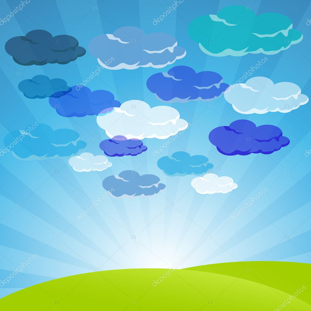 clouds in sky with landscape