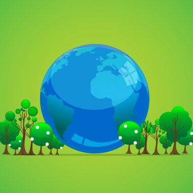 Illustration of globe with trees stock vector