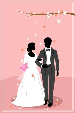 Illustration of married couple in flowery background stock vector