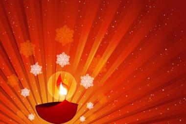 Illustration of diwali with diya stock vector