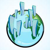 Földgömb és épületek