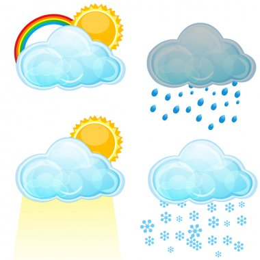 Illustration of types of weather on white background stock vector