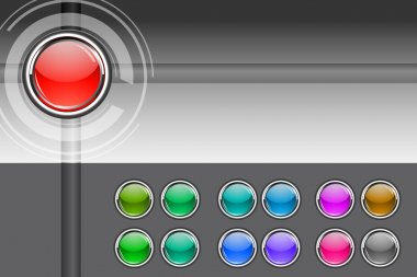 Illustration of colorful buttons on white background stock vector