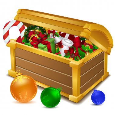 Illustration of treasure chest full of christmas goodies on white background stock vector