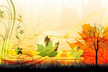 Illustration of abstract autumn card stock vector
