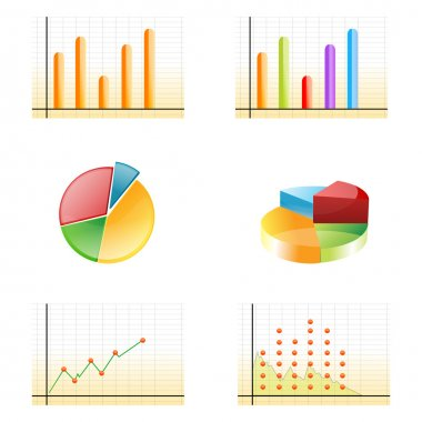 Illustration of business growth graphs on white background stock vector