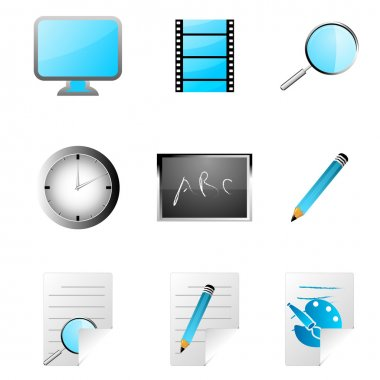 Illustration of study icons on white background stock vector