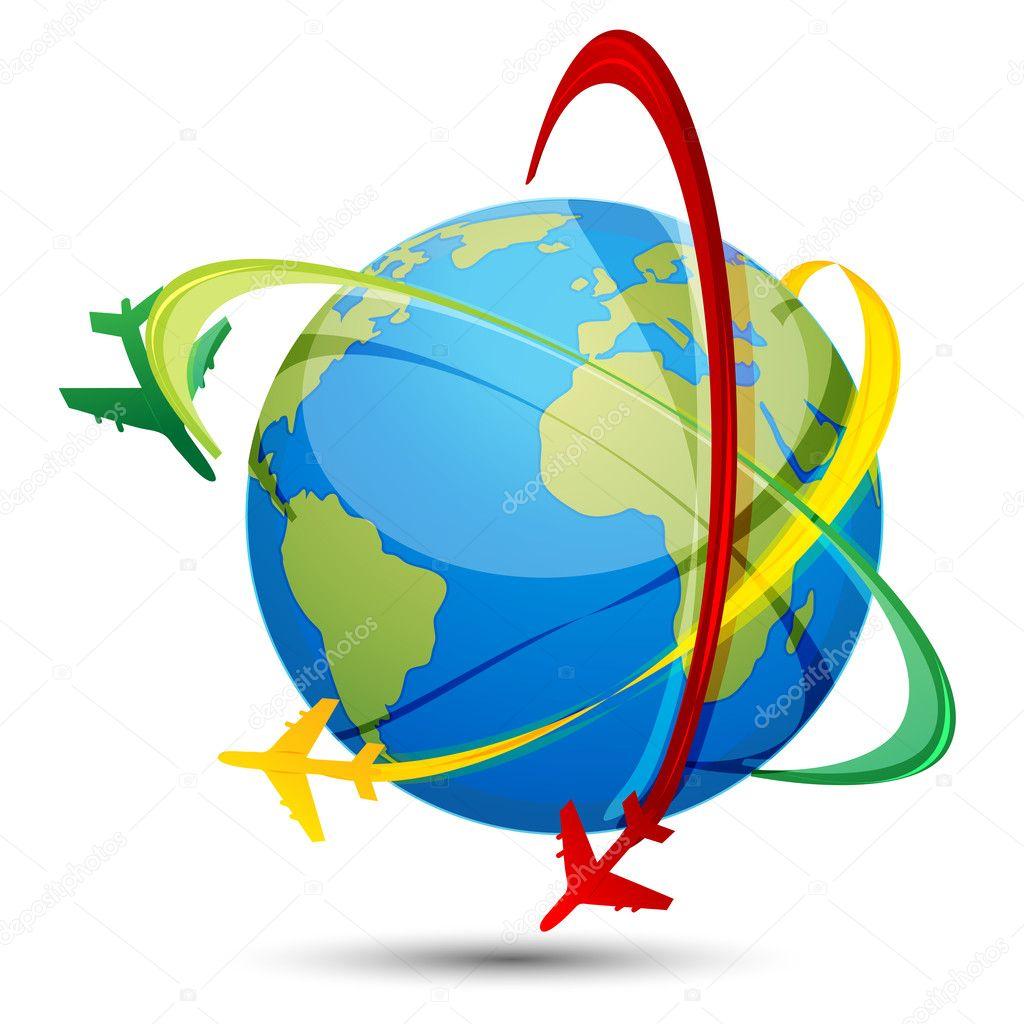 Tour du monde avec les avions et globe photo 4583713 - Globe maison du monde ...